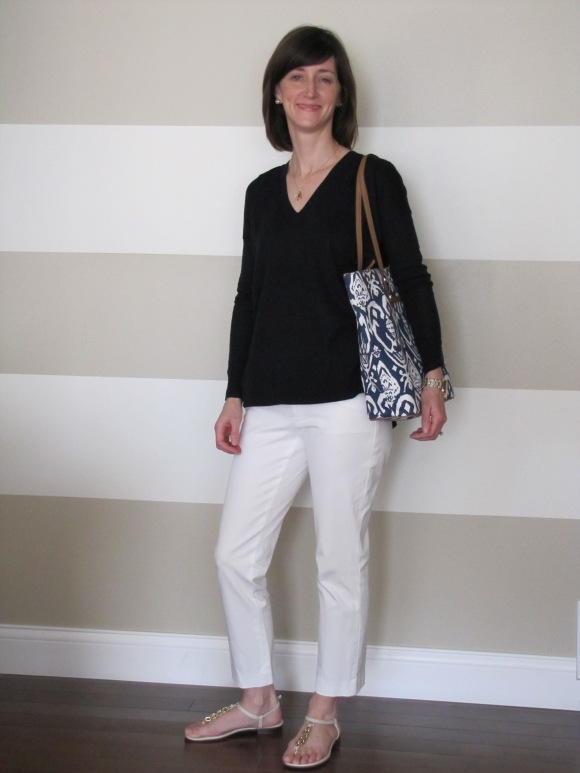 Another shot of the sweater. I think this will pair so well with white pants and sandals for spring and summer. Add some simple jewelry and a cute bag and you're done. Love. (Pants/Old - Banana Republic Factory; Bag and Jewelry/Available Now - Stella & Dot)