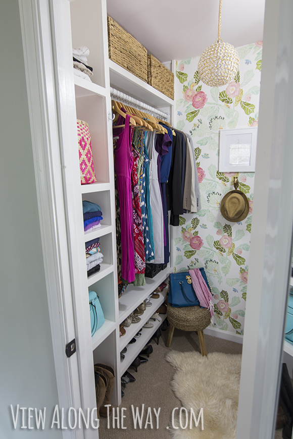This super cute closet makeover was done by the blogger at View Along the Way. I love the whole thing - the wallpaper, the jewelry nook, the mini chandalier... You have to go over to her blog and check the whole thing out. Very cute!
