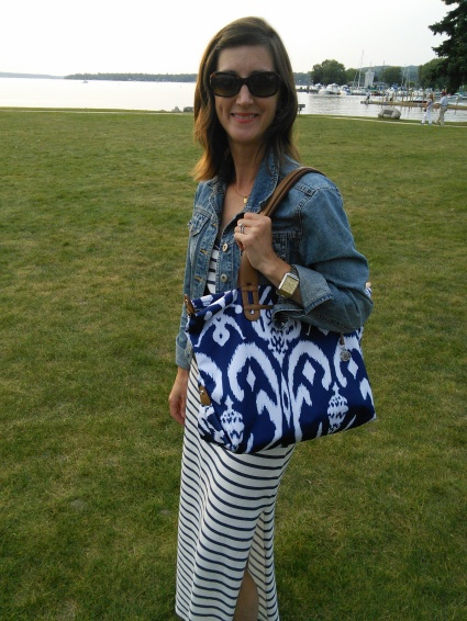 My navy and white Ikat print bag by Stella & Dot