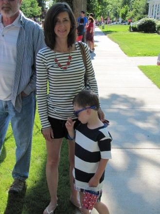 Going patriotic in my Breton-style top at a 4th of July parade